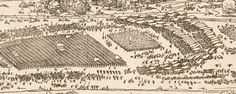 1527 Albrect Dürer - Seige of a Fortress. DETAIL showing baggage train at the back of the march.  Virtuelles Kupferstichkabinett