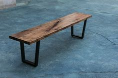 "Walnut Bench, Powder-coated Steel Reverse Trapezoid Legs, Custom, ""Eloise"" Project"