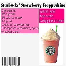 Milkshake Recipes, Smoothie Recipes, Smoothies, Drink Recipes, Starbucks Strawberry Frappuccino, Mocha Frappuccino, Starbucks Secret Menu Drinks, Healthy Starbucks, Frappe Recipe