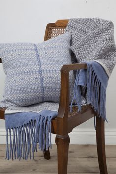 Knitted FairIsle Stripe Cushion with Hand Embroidery Soft Blue