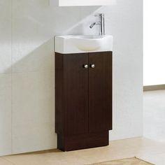 Fresca Senza Single Pulito Small Modern Bathroom Vanity Set with Mirror You& Love Narrow Bathroom, Tiny Bathrooms, Single Bathroom Vanity, Bathroom Sets, Amazing Bathrooms, Modern Bathroom, Bathroom Vanities, Cabin Bathrooms, Relaxing Bathroom