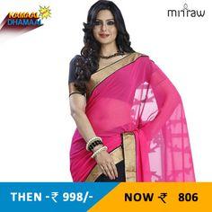 Pink - golden - black plain georgette saree with blouse.Shop now-http://bit.ly/1GpubDw