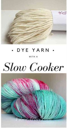 Slow Cooker or Crock Pot Yarn Dyeing, Learn how to dye beautiful yarn at home using your slow cooker Crochet Yarn, Knitting Yarn, Knitting Patterns, Crochet Patterns, Knitting Tutorials, Craft Tutorials, Hand Crochet, Spinning Wool, Spinning Wheels