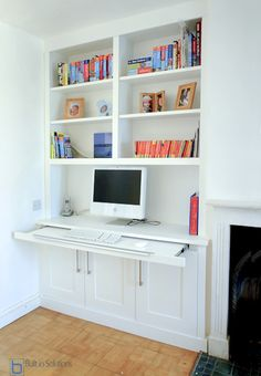Built in Cabinets, Alcove Cupboards & Built in Cupboards Alcove Desk, Alcove Storage, Alcove Shelving, Alcove Cupboards, Desk Storage, Book Shelves, Inside Cabinets, Storage Ideas, Office Storage