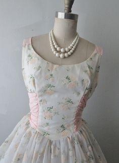 50s Wedding Dress // Vintage 1950's Flocked by TheVintageStudio