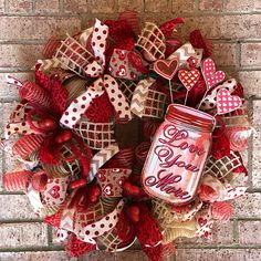 Valentine wreath Valentines Day Wreath - Red Deco Mesh Wreath - Deco Mesh Wreath - Burlap Valentine Welcome Wreath - Heart Love You More Wood Sign Everyday. Made with deco mesh and coordinating ribbon Its ready to hang on your front. Wreaths are not made to be in direct sunlight