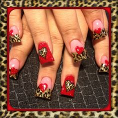 Red and leopard  by Oli123 - Nail Art Gallery nailartgallery.nailsmag.com by Nails Magazine www.nailsmag.com #nailart