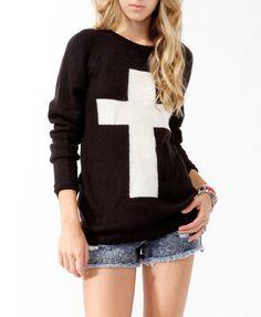 Contrast Cross Longline Sweater | FOREVER21 - 2019571647