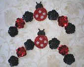 Black and Red Lucky Ladybug Suite of Beaded and Sequined Appliques - PAIR