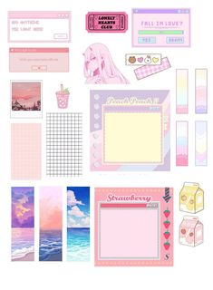Stickers Kawaii, Anime Stickers, Cute Stickers, Journal Stickers, Scrapbook Stickers, Planner Stickers, Bullet Journal Lettering Ideas, Bullet Journal Ideas Pages, Kunstjournal Inspiration