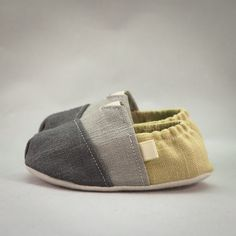 Fitted Baby shoes in a Celadon / Gray Linen Color by Scarlettos, $28.00