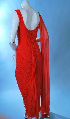 Vintage Glamorous Ceil Chapman Lady in Red Chiffon Gown
