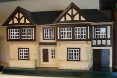 Triang is my second restoration, and what a sad house it was, only… Mini Houses, Miniature Houses, Antique Dollhouse, Dollhouse Miniatures, Fairy Houses, Doll Houses, Dolls House Shop, Tudor Style, Window Boxes
