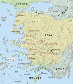 Patmos+Island+Revelation+of+John | The Seven Churches of Revelation. The island of Patmos, where John was ...