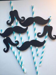 12 Pailles parti de moustache bleue et blanche par MiaSophias