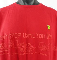 dd97b964723 NWOT Ferrari Scuderia XL Mens T-Shirt Red Embossed Don't Stop Until You