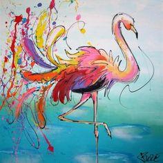 Een mooi bont, sereen tafereel. Deze modern figuratief afgebeelde flamingo's zijn met de hand geschilderd, dus altijd een uniek doek. Samen met de 'Gebogen flamingo' een leuke combinatie voor een modern interieur. Veel kleuren dus altijd vrolijk.