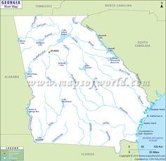 georgia rivers map displays the major rivers in georgia state of the usa