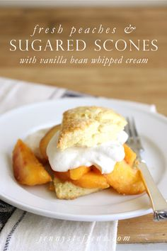 Fresh Peaches with Sugared Scones & Vanilla Bean Whipped Cream. More flour - Add another 1/4 cup of flour. Trust us, make it 2 1/2 cups of flour overall. The added flour makes the dough so much easier to work with & still yields a delicate scone. Sugar for the top. Beautiful on these scones. Egg wash- We added a smidge of water (just a couple drops) to our egg yolk wash to make it easier to spread. The scones freeze well if you want to make extra & store for a special occasion. Strawberries?