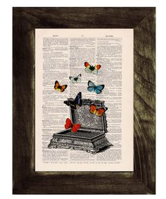 Upcycled Art Print Vintage jewell box with butterflies by PRRINT, $7.99