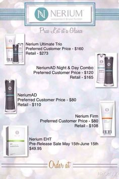 New global product branding! The product is fantastic, order yours here > http://nerium.com/shop/stacyshanahan/products