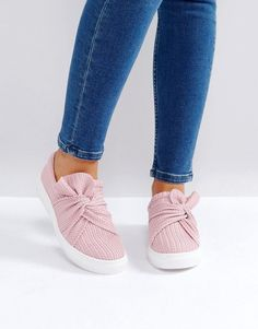 Glamorous Pink Knitted Twist Slip On Sneaker - ShopStyle Sneakers Mode, Slip On Sneakers, Slip On Shoes, Sneakers Fashion, Fashion Shoes, Loafer Flats, Loafers, Baskets, Plimsolls