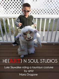 My son Anthony wanted to be Luke Skywalker on a tauntaun for Halloween so I got to work making a costume together. You can see more pictures of what I did on my Facebook page: https://www.facebook.com/heartnsoulstudios  I did not write a tut so if you want to know how I did something just ask. #StarWars, #LukeSkywalker, #Hoth,  #Tauntaun, #Costume, #Halloween, #Geek, #DIY,  #HeArtnSoulStudios