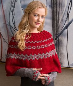 Fair Isle Poncho & Arm Warmers Free Knitting Pattern in Red Heart Yarns -- Dress up any winter outfit!