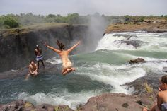 Victoria Falls' Devil's Pool, Livingstone Island, Zambia (literally looks so scary but its a little natural, enclosed pool just at the top of waterfall. i want to see this haahaha)