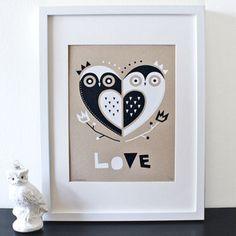 Items similar to Owl Love Screenprint, Silkscreen, Nursery Art, Kraft on Etsy Heart Wall Art, Framed Wall Art, Canvas Wall Art, Owl Always Love You, Owl Crafts, Owl Art, Cute Owl, Nursery Art, Tricks