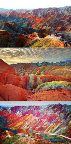 Zhangye Danxia Landform Geological Park, Gansu Provence, China. ---Now, that is insane!! <3 Amazing :O