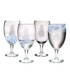 Look at this Hand-Cut Pineapple Glass Goblet - Set of Four on #zulily today!
