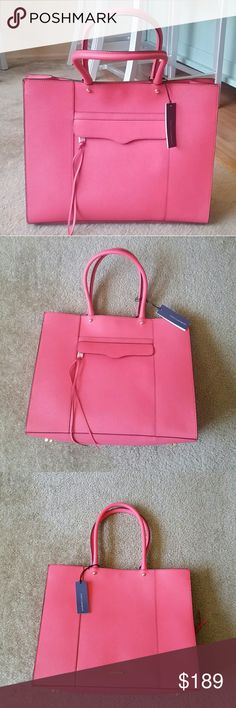 """REBECCA MINKOFF Large MAB Tote NWT! 👜 In Coral 👜 Elegant rolled handles top an oversized Rebecca Minkoff Morning After Bag rendered in rich, buttery leather. For a perfect finishing touch, leather laces trail from the decorative front zipper.  *Magnetic snap closure. *Exterior zip pocket. *Interior zip, wall and cell-phone pockets. *Protective metal feet. *Print lining. *Genuine saffiano leather. *12.8""""H x 16""""W x 5.5""""D *8"""" strap drop. Rebecca Minkoff Bags Totes"""