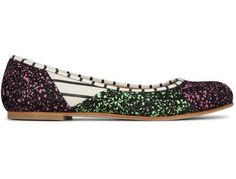 Bernhard Willhelm reinvents this ballerina with a patchwork of green, pink and black paint splashes and black and white stripes.