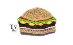 CROCHET PATTERN Cheeseburger Beanie Infant & Kids by ToryMakes