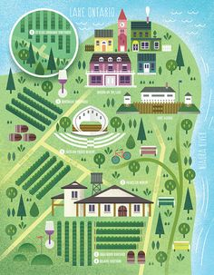 An illustrated map of Niagara wineries. blameyourbrother.com