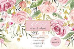 Watercolor flower clipart. A soft and delicate hand drawn floral watercolor clip art, are ideal for creating card template designs, for your logo, on your blog, invitations, digital projects, sites, scrapbooking, wedding invitations etc.! The light blush pink tones and golden flowers. Each element was painted on watercolour paper