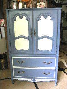 Armoire painted with Chalk Paint® Decorative Paint by Annie Sloan in Old Violet and Old White.