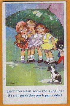 "'Girls under Umbrella': ""Can't you make room for another?"" (by Agnes Richardson) <> (rain, rainy day, storm, weather, umbrella)"