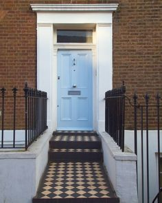 We love this blue for a front door it is Lambeth Walk by Mylands of London