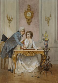 Drawing Class, by Edouard Jean Conrad Hamman Belgian, - Sotheby's A4 Poster, Poster Prints, Quill And Ink, European Paintings, Victorian Art, Lost Art, Couple Art, Vintage Artwork, Fine Art