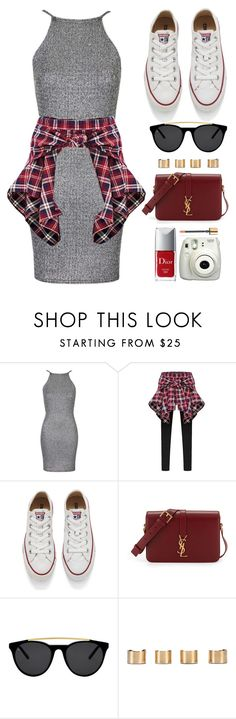 """""""Casual Style"""" by monmondefou ❤ liked on Polyvore featuring Oh My Love, Converse, Yves Saint Laurent, Smoke & Mirrors, Maison Margiela, Christian Dior, Fuji, white, red and gray"""