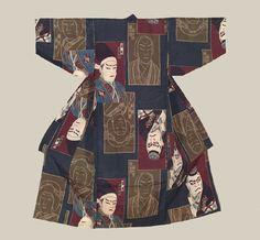 Boys Kimono, Taisho (1911-1926). A boys silk kimono featuring unusual kabuki actor motifs. The Kimono Gallery