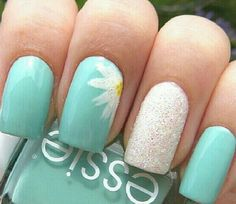Easy design#white and mint nails