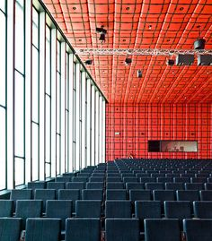 Scheepvaart en Transport College, Rotterdam, the Netherlands (by samuel t ludwig on Flickr). Colour Architecture, Interior Architecture, Auditorium Design, Theatre Design, Interesting Buildings, Learning Spaces, Future City, Commercial Interiors, Rotterdam