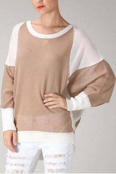 Very unique batwing sweater in brown and white colorblock.    Batwing Colorblock Sweater by Uniq. Clothing - Sweaters - Crew & Scoop Neck Washington