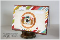 Summer Memories card by Angella Peardon - Scrapbook.com - Layer die cuts and 3x4 cards for a cute everday card.