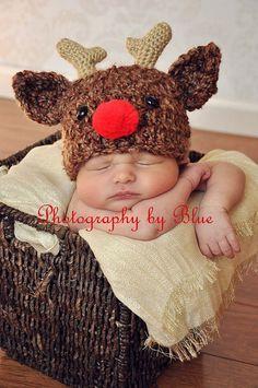 Newborn Baby Crochet Rudolph Reindeer Christmas Holiday Deer Hat Photo Prop on Etsy, $30.00