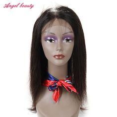 123.12$  Watch now - http://aliyhc.worldwells.pw/go.php?t=32741397613 - Angel Beauty Hair Brazilian Straight Hair Weave Bundle 360 Lace Frontals Pre Plucked Virgin Straight Hair With Frontal Closure 123.12$