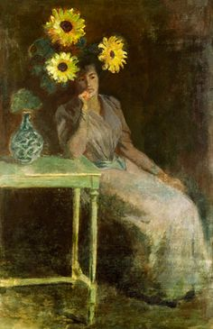 the proportion with the flower and the lady are what grabbed my eye when i look at this painting.